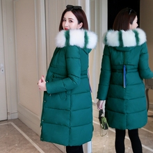 Zqlz Winter Jacket Women Plus Size Slim Long Coat Fashion Fur Collar Hooded Jackets Female Thick Down Cotton Padded Parka Mujer