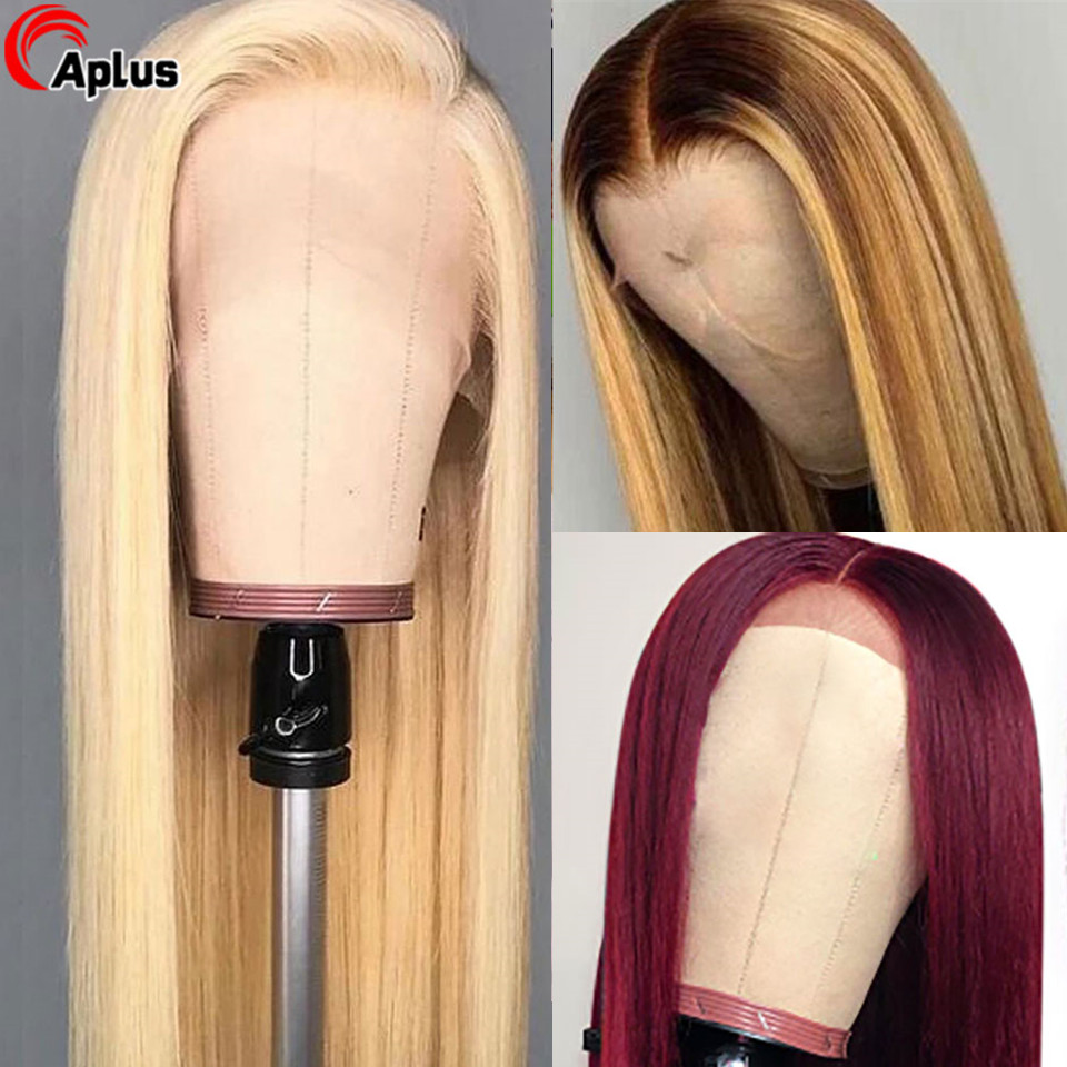 613 99j Highlight Colored Straight Lace Front Remy Human Hair Wigs Glueless Wigs Pre Plucked Peruvian 13 X 4 Lace Front Wigs 180