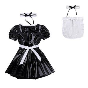 Image 4 - Women Sexy French Maid Servant Role Playing Costume Shiny Babydoll Fancy Dress Lingerie Erotic Cosplay Princess Uniform Aprons