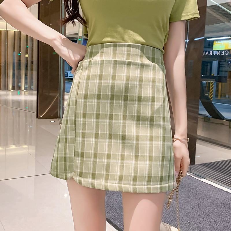 Avocado Green Plaid Skirt Women's 2019 New Style Summer Short-height A- Line Skirt High-waisted Skirt