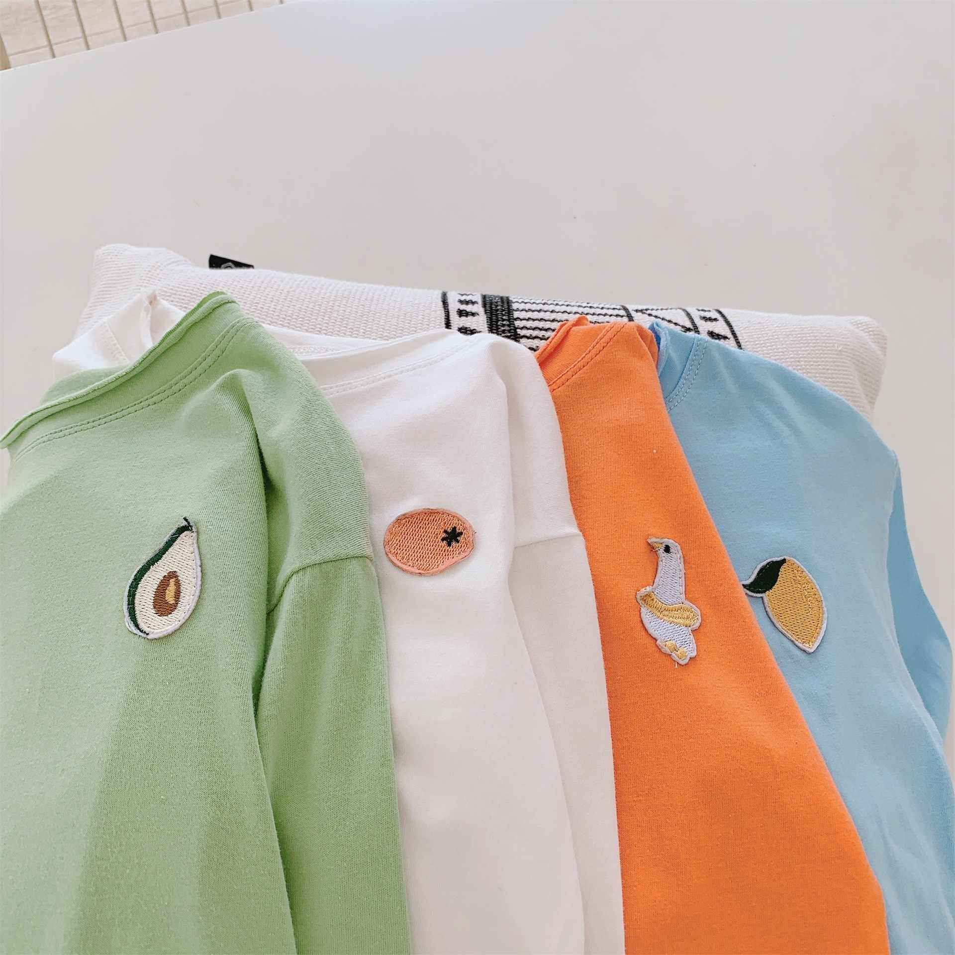 Spring Autumn boys girls cute fruit embroidery long sleeve T shirts kids candy color cotton all-match clothes Tees
