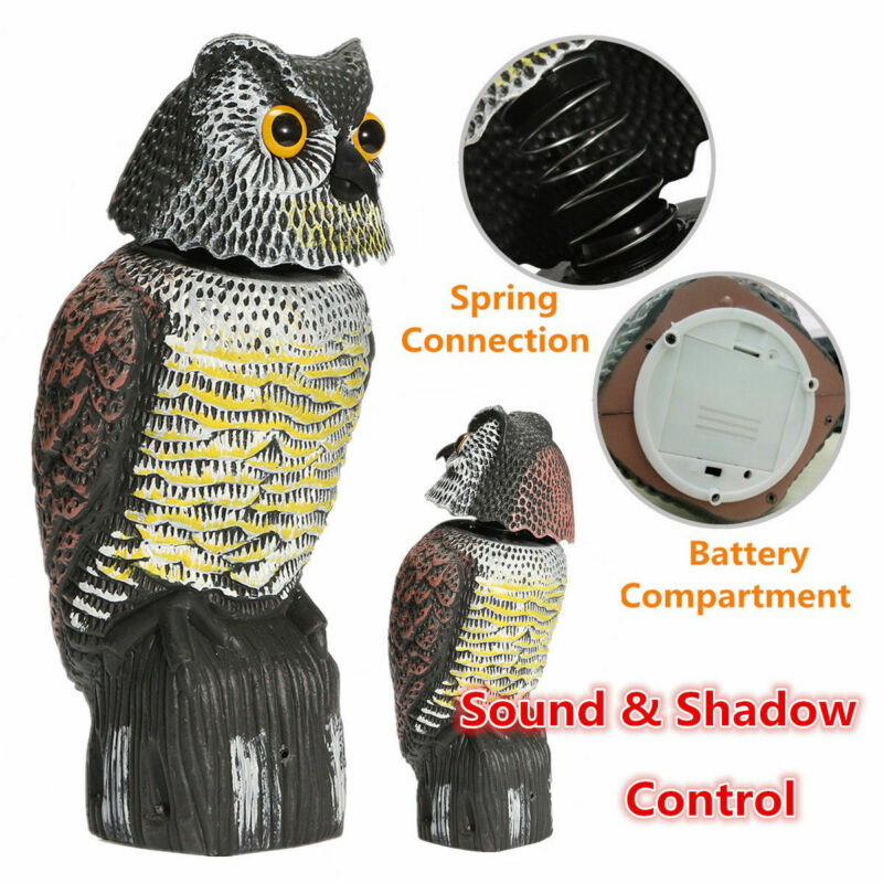 Hot Sale Realistic Bird Scarer Rotating Head Sound Owl Prowler Decoy Protection Repellent Pest Control Scarecrow Garden Yard(China)