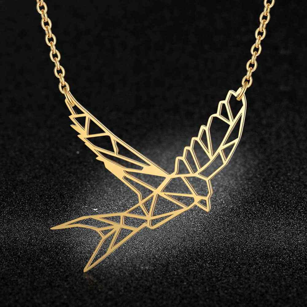 100% Real Stainless Steel Hollow Flying Bird Necklace Unique Animal Jewelry Necklace Trend Jewelry Necklaces Personality Jewelry