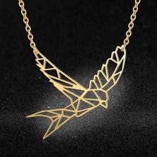 100% Real Stainless Steel Hollow Flying Bird Necklace Unique Animal Jewelry Necklace Trend Jewelry Necklaces Personality Jewelry(China)