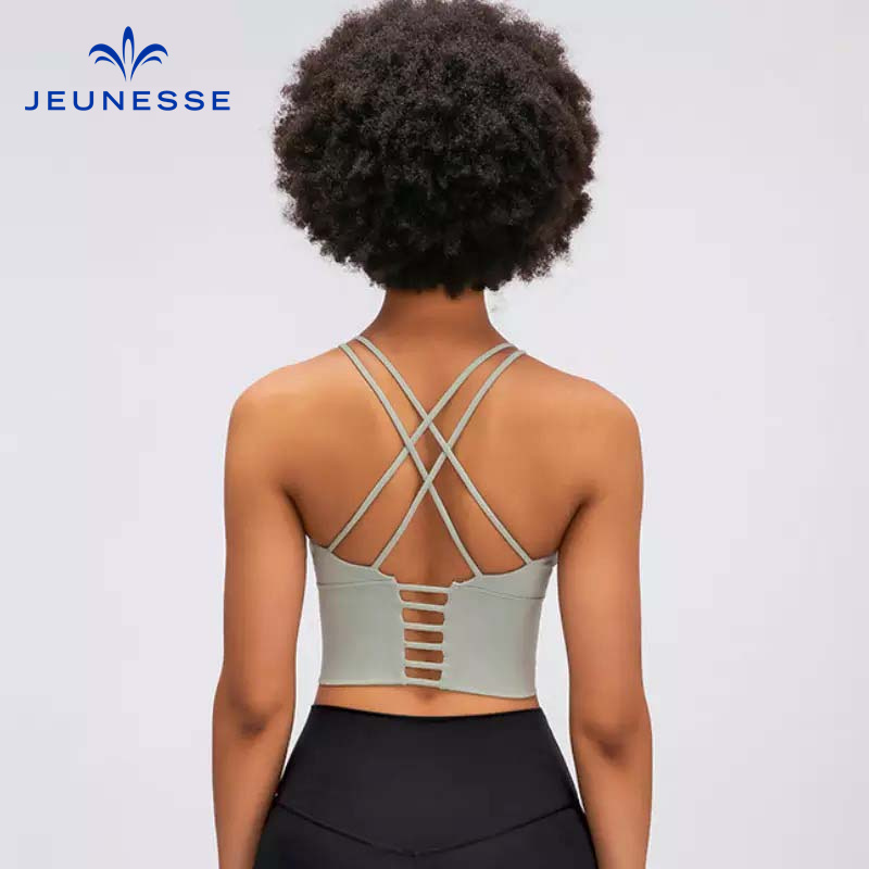 Jeunesse BREATHE Women Yoga Bra Cross Back Sports Crop Tops High Impact Workout Bra Padded Push Up Women Fitness Bras