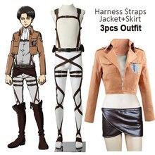 Anime quente ataque em titan cosplay shingeki nenhum kyojin jaqueta recon corps saia de couro hookshot cintos suspensórios ackerman traje