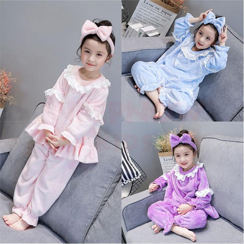 2020 Velvet Christmas Children Pajama Sets for Girls Boys Pyjamas Kids Sleepwear Baby Clothing + Headwear Girls Pijamas 2-8Years 1