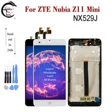 """5.0 """"lcd com moldura para zte nubia z11 mini nx529j tela cheia sensor de toque digitador assembléia nubia z11mini display novo"""