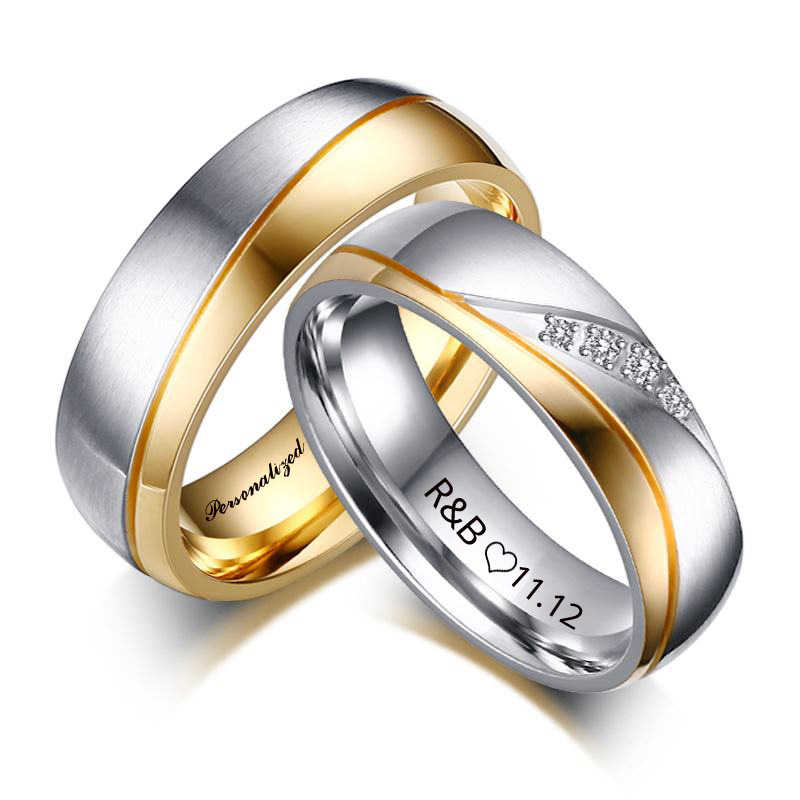 Personalized Name Promised Wedding Rings For Lover Gold Color Stainless Steel Rings for Couple Men Women Engagement Party Gifts