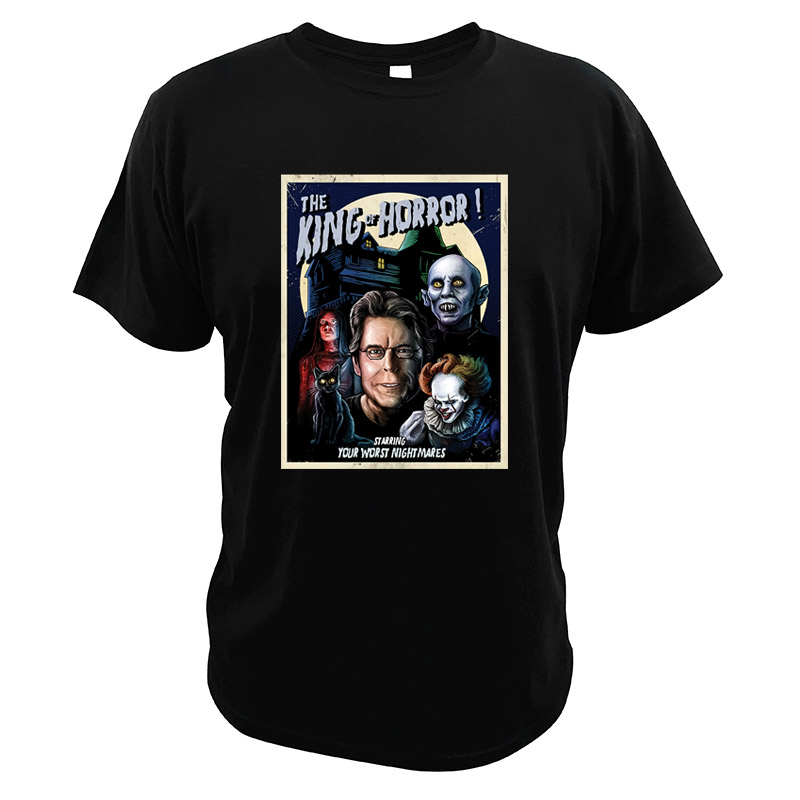 Stephen The King of Horror T Shirt Carrie Salem's Lot High Quality Cotton Novelty Pennywise Tee Tops <font><b>Pet</b></font> <font><b>Sematary</b></font> Tshirt image