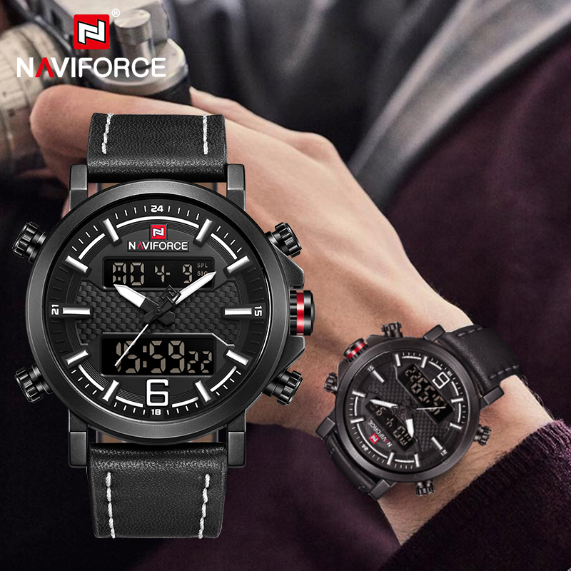NAVIFORCE Men's Fashion Sports WristWatch Luxury Waterproof Quartz Watches Male Date LED Analog Digital Clock Relogio Masculino
