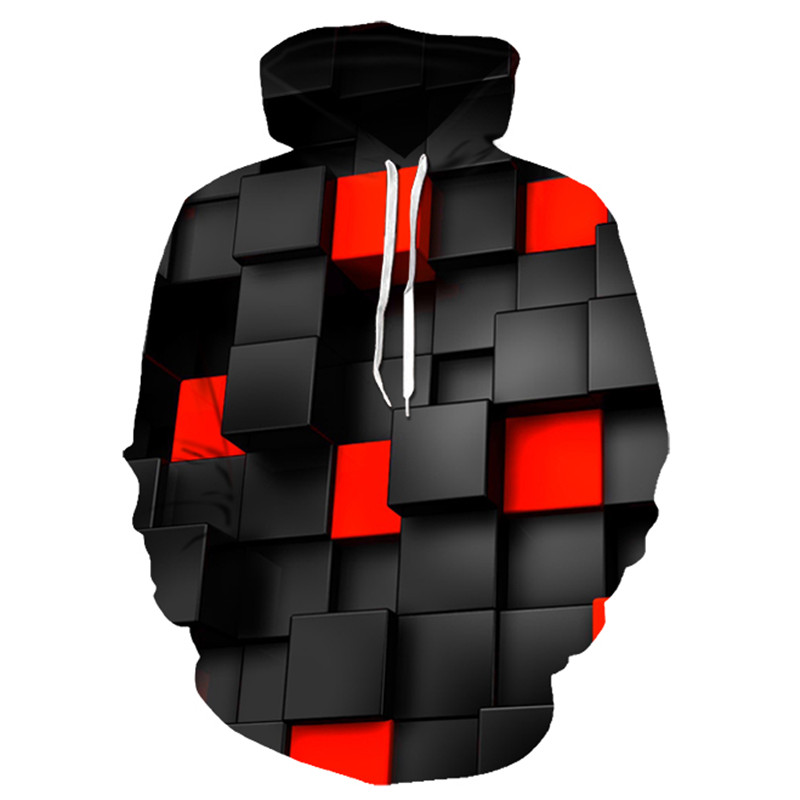 Black/red Square 3d Printed Funny Men's Hoodies Casual Summer Hoodies Men's / Women's Shirts Hoodies Brand Large Size