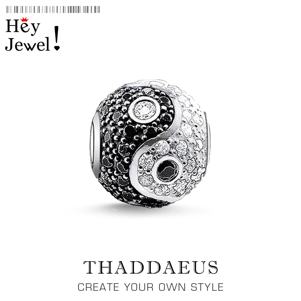Beads Yin Yang Pave Micro Pave Ball Charm Bead For Women DIY Fine Jewelry Making Men Silver Sterling Thomas Fashion Bead