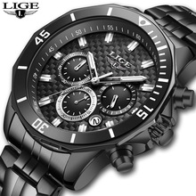 2020 LIGE Mens Watch Fashion New Black Stainless Steel Sport Waterproof Watches