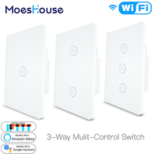 3 Way WiFi Smart Multi-Control  Light Switch Work with Alexa Google Home,No Hub Required Life APP Remote Control