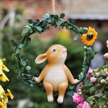 Adornos bonitos para el Hogar, decoraciones de animales modernos, estatuillas de hadas de jardín nórdicas creativas, Accesorios de resina para Hogar, decoración del Hogar AE50BJ