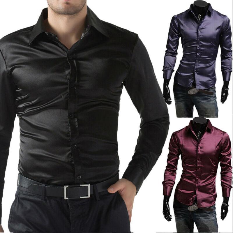 2020 Newest Fashion Mens Shiny Silky Satin Dress Shirt Luxury Silk Like Casual Shirts M-2XL