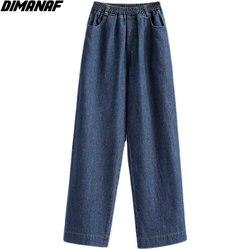 DIMANAF Plus Size Women Jeans Pants High Waist Loose Denim Female 2021 Summer Elastic Waist Basic Pockets Blue Trousers S-5XL