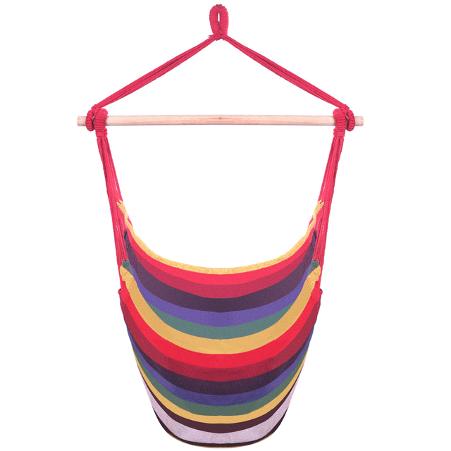 Distinctive Cotton Canvas Hanging Rope Chair with Pillows Rainbow hanging bed Garden Hang Lazy Chair Swinging Indoor Outdoor 2