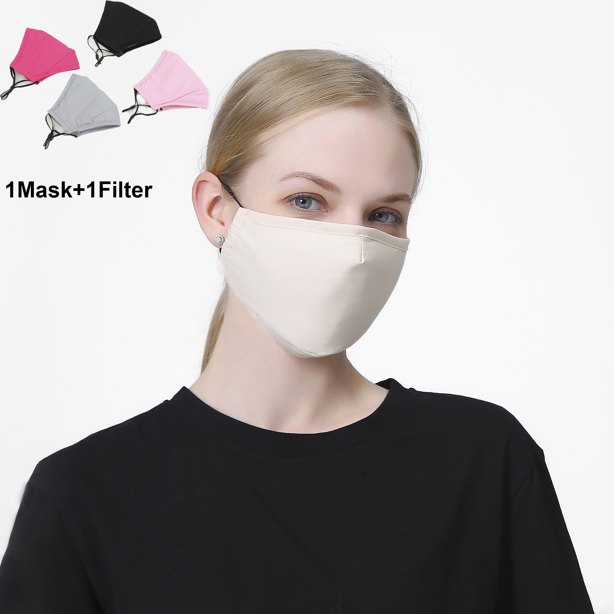 1Set PM2.5 Cotton Women Face Mask Cover Respirator Reusable Washable Dust Fog Pollution PM2.5 Men Mouth Mask With Filter Pad