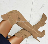 Suede Lace up Over the Knee Long Boots Woman New Arrival Pointed Toe Thin High Gladiator Boots Fashion Lady Large Size Shoes