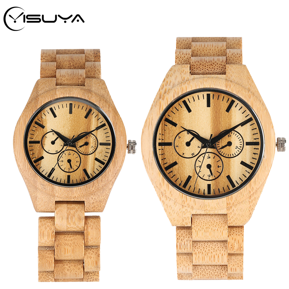 YISUYA Wooden Watch Couple Watches Full Bamboo Wooden Bracelet Men Quartz Clock Souvenir Gift For Lovers Top Luxury Reloj Hombre