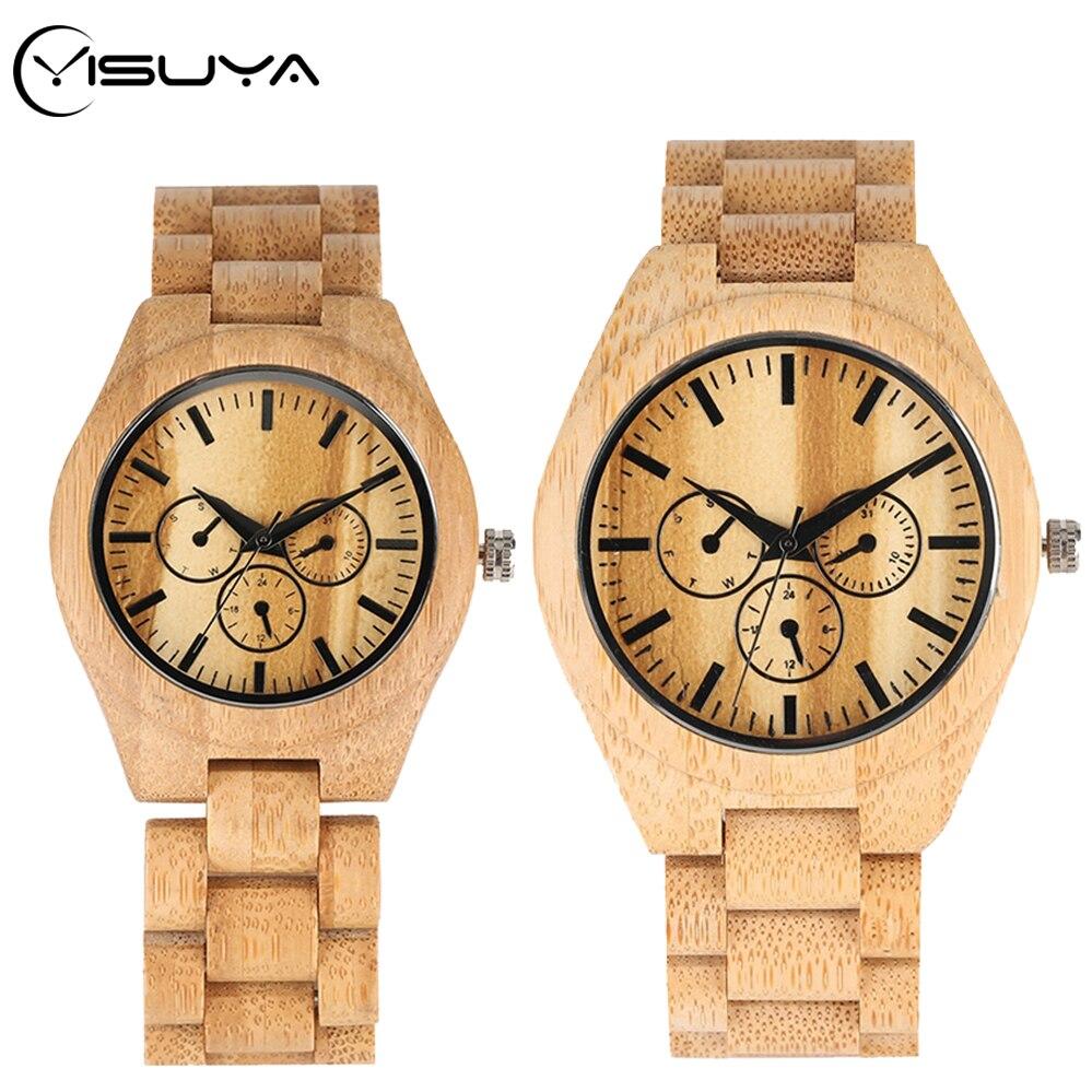 YISUYA Wooden Watch Couple Watches Full Bamboo Wooden Bracelet Men Quartz Clock Souvenir Gift For Lovers Top Luxury Reloj Hombre