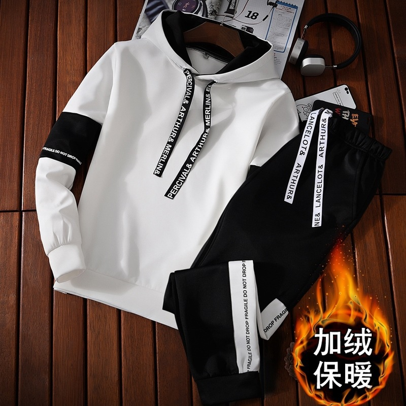 A Set Of MEN'S Sportswear New Style Autumn & Winter Hooded Pullover Hoodie Suit Students Brushed And Thick Coat Clothes