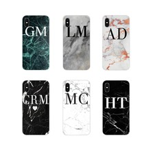 For Samsung A10 A30 A40 A50 A60 A70 Galaxy S2 Note 2 3 Grand Core Prime MONOGRAM MARBLE INITIALS Perfect Silicone Phone Bag Case(China)