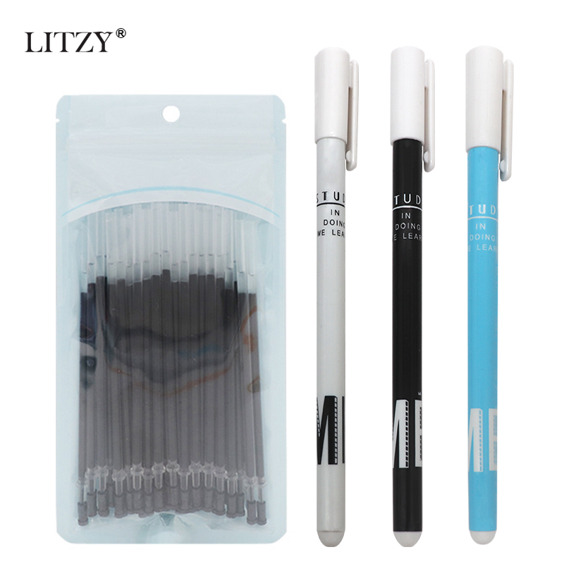 3+50Pcs/lot Gel Pen 0.5mm Black/Blue/Red Ink Pens For School Writing Tools Kawaii Stationery Neutral Refills Office Supplies