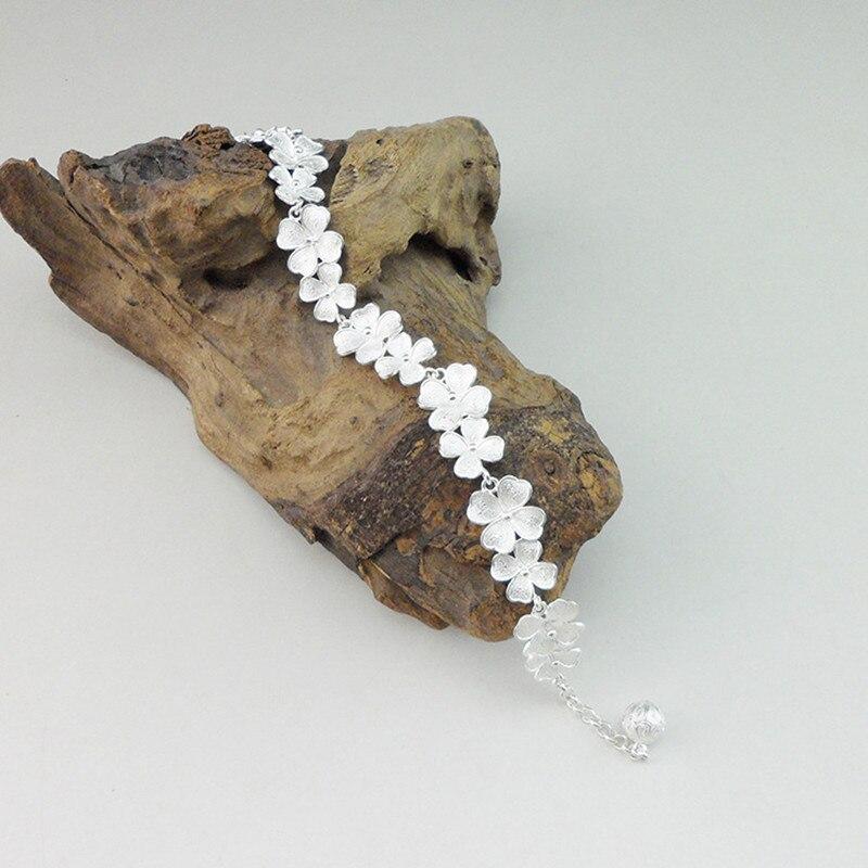 999 pur argent Bracelet lien main chaîne femmes chinois ethnique bijoux Boho fait main charmes argent Bracelet fleurs bracelets