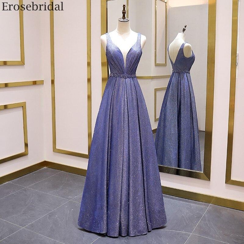 Erosebridal Brilliant A Line Prom Dress Long 2020 Simple Style V Neck Long Evening Dress Open Back Beads Belt