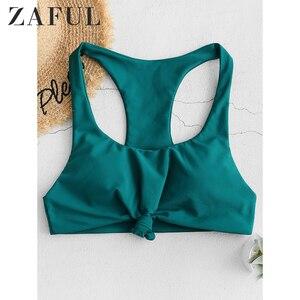 ZAFUL Бикини-топ для женщин с узелком-борцовкой, Одноцветный Топ для плавания с овальным вырезом, съемный мягкий пляжный Бикини-топ для борцов...