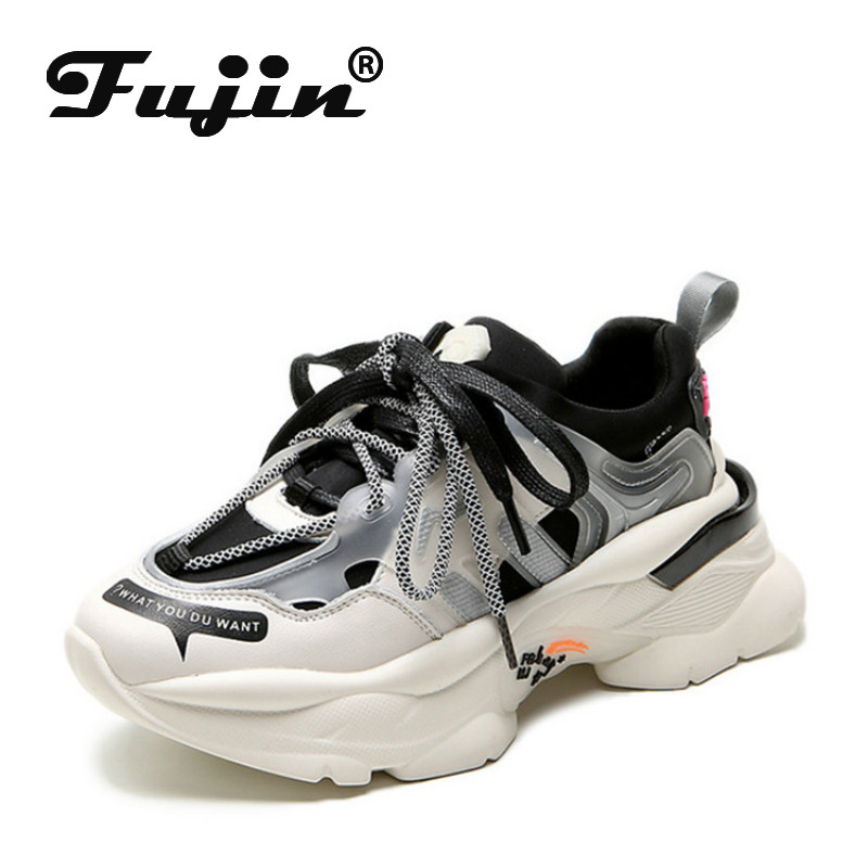 Fujin Sneakers Women Autumn Winter Leather Daddy Shoes Thick Bottom Leisure Laces Increase Fashion Breathable Women Shoes