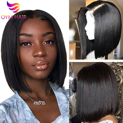 Парики из коротких бобов 13х4, парики из человеческих волос с фронтальной шнуровкой, перуанские 100% Человеческие волосы Remy, парики с предварит...