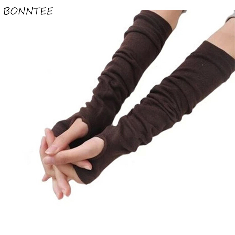 Arm Warmers Women Korean Style Retro Solid Womens Winter Cute High Quality Leisure Fitted Fingerless Females Mid-long New HOT