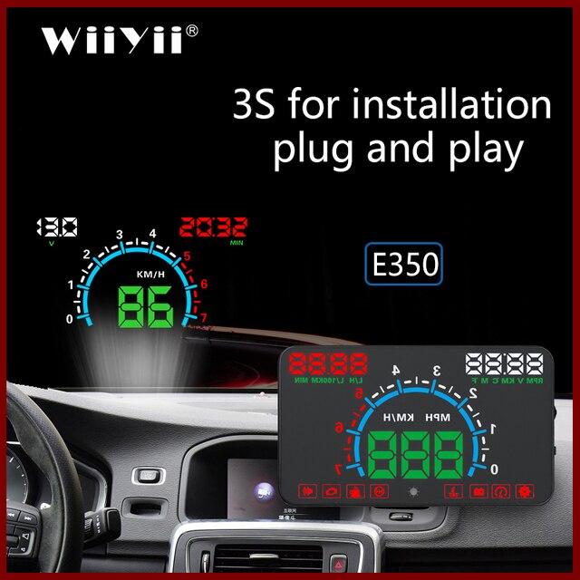 GEYIREN E350 OBD2 II HUD Auto Display Da 5.8 Pollici Dello Schermo di Facile di Plug And Play Allarme di Velocità Eccessiva visualizzazione Del Consumo di Carburante hud proiettore