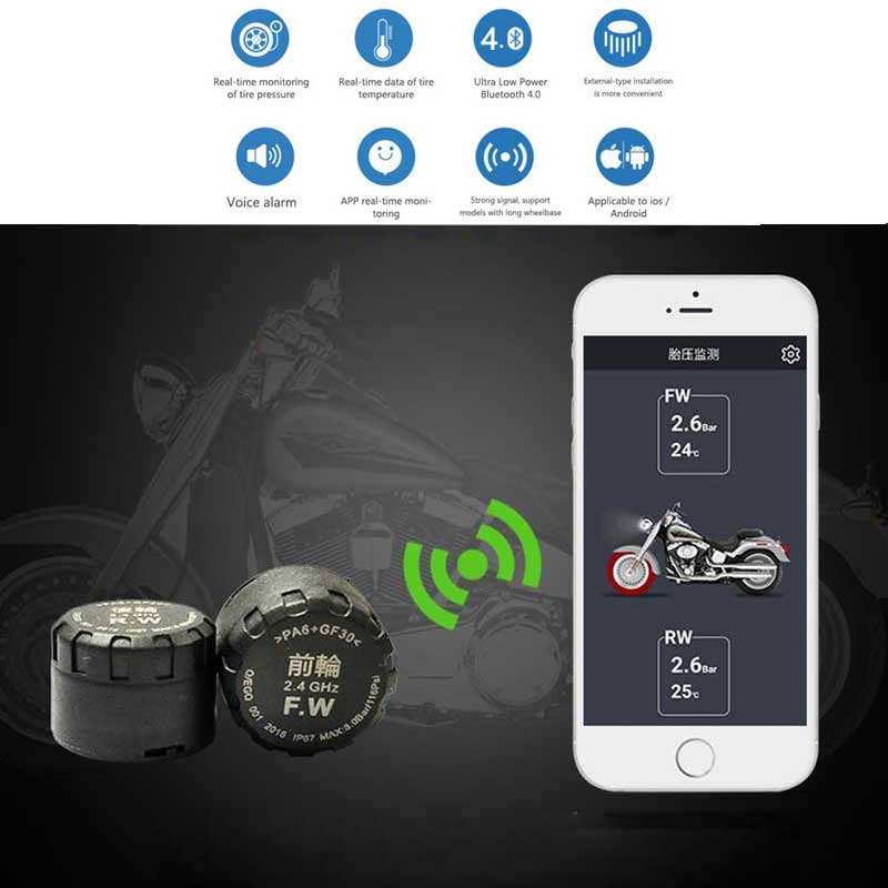 Real Time Motorcycle TPMS Tyre Pressure Monitoring System Bluetooth Monitoring System Mobile Phone Detection External Sensor
