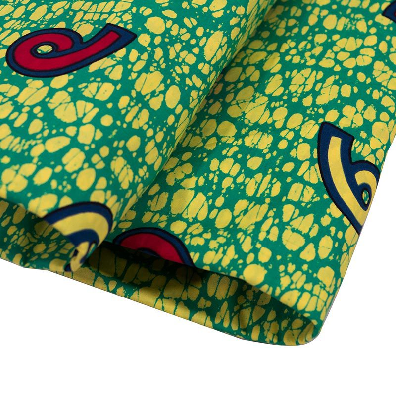New African Fabric Pure Cotton Green And Red 6 Print Fabric For Party Dress pagnes Africain