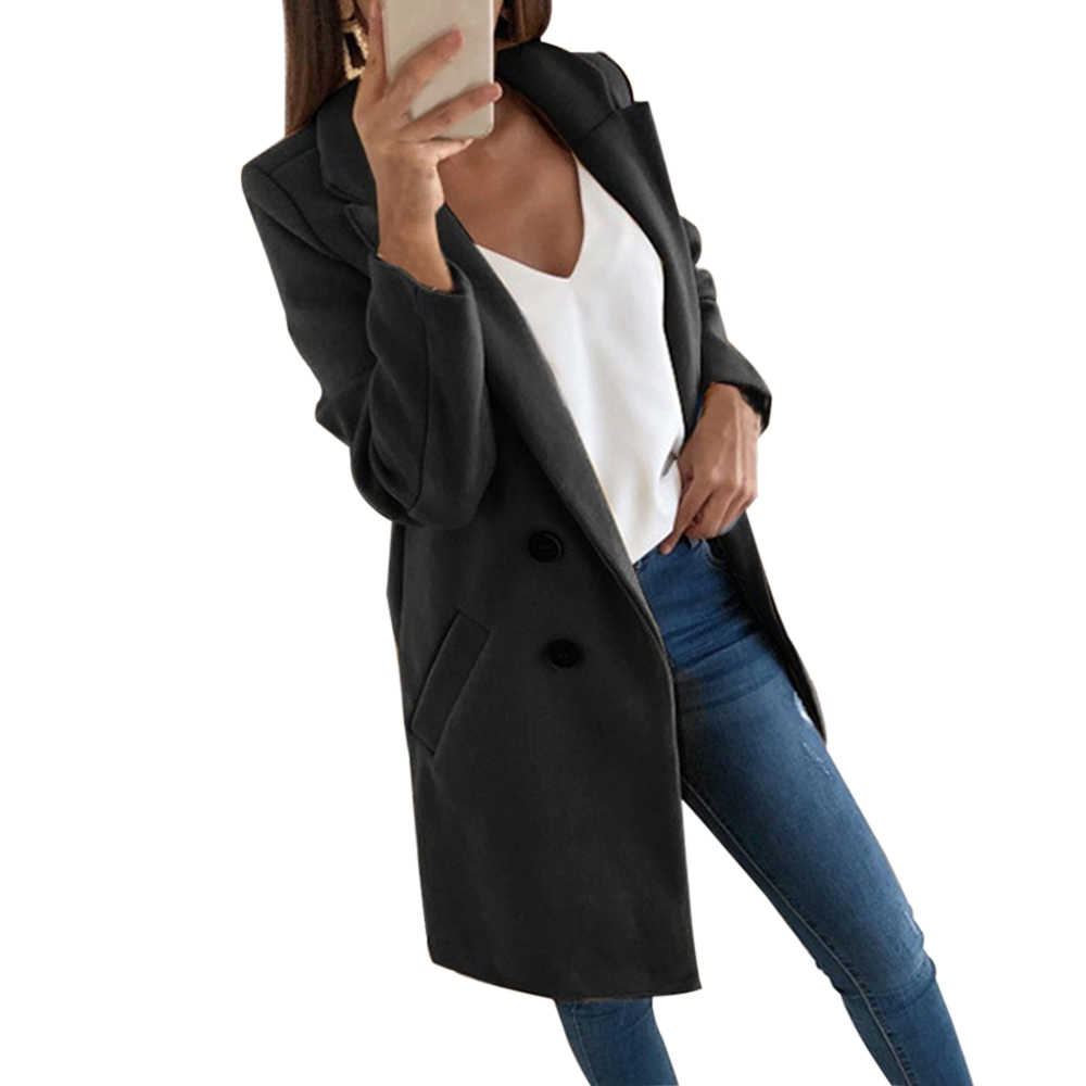 Vertvie Mode Herbst Lange Mantel Frauen Drehen Unten Kragen Solide Gelb Mantel Casual Dame Schlank Elegantes Blends Oberbekleidung Kleidung 2019