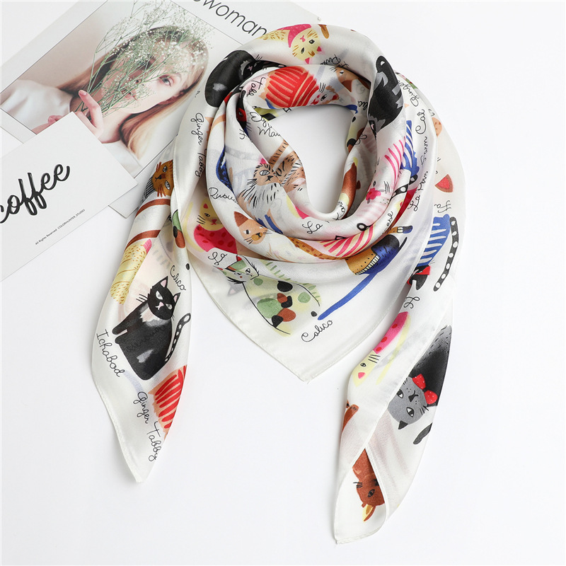 Hot 2020 Silk Scarf Fashion <font><b>Foulard</b></font> Brand Shawl Scarfs New <font><b>90</b></font>*90cm Square Silk Hair Head Scarves Women Bandana Hijab Poncho image
