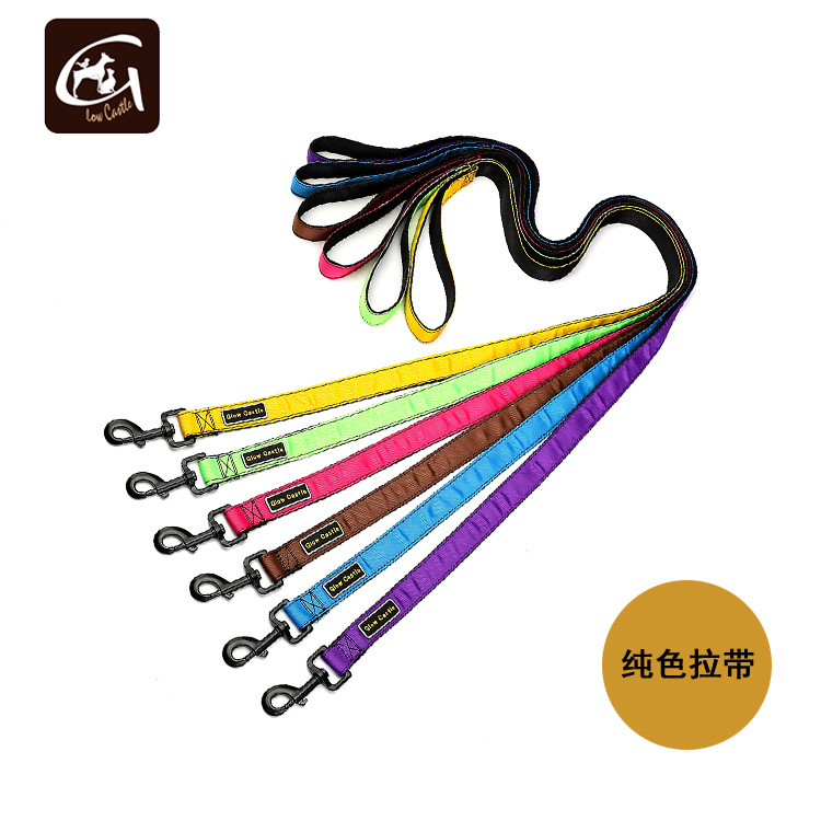 Guangzhou Dog Supplies Solid Color Ribbed Band Car Sewn Nylon Sling Multi-color Selectable Pet Traction Rope