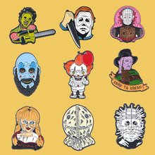 PC902 Halloween Clown Horror Ghost Enamel Pins Metal Cute Collar Pins And Brooches For Women Brooch Jewelry Lapel Pin Badge k678 ghost clown it horror metal enamel pins and brooches for lapel pin backpack badge collection halloween gifts for kids