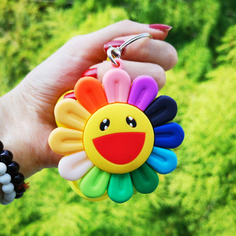 2019 New Colorful Soft Sunshine Smile Keychain Sun Flower Keychain Car Sunflower KeyRing Pendant Jewelry Best Event Gift