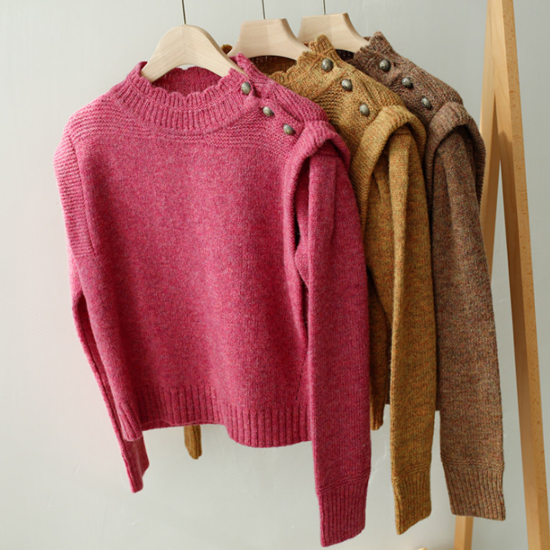 Women Sweater Half-neck Pure Wool Sweater With Ruffled Shoulder Button