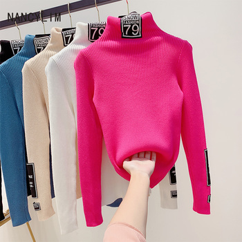 Sweaters for Women Letter Patch Thickened Turtleneck Sweater Woman Autumn Winter Pullover Knitted Jumper Sweaters Pull sweaters modis m182w00296 jumper sweater clothes apparel pullover for female for woman tmallfs