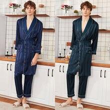Samwestar мужские шелковые пижамы Наборы для мужчин весна лето