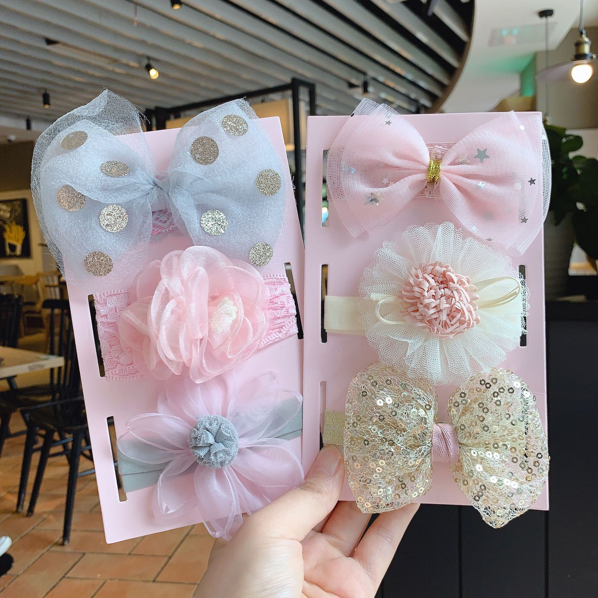 3pcs/set Baby Headband Girls Hair Accessories Cotton Bow Lace Lovely Elastic Hairband Baby Princess Birthday Day Gifts