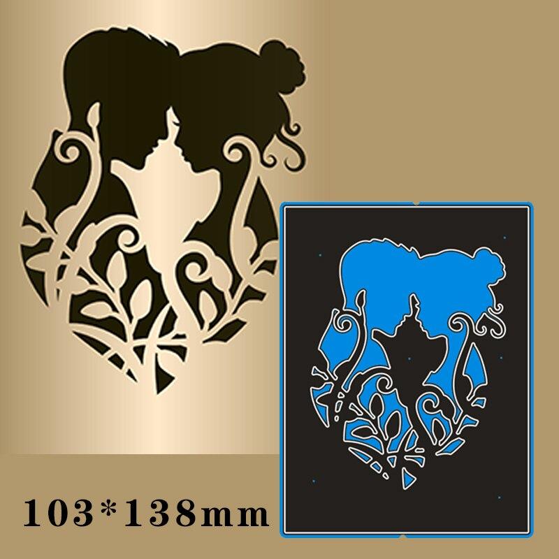 103*138mm Couple Silhouette Metal Cutting Dies For Card DIY Scrapbooking Stencil Paper Craft Album Template Dies