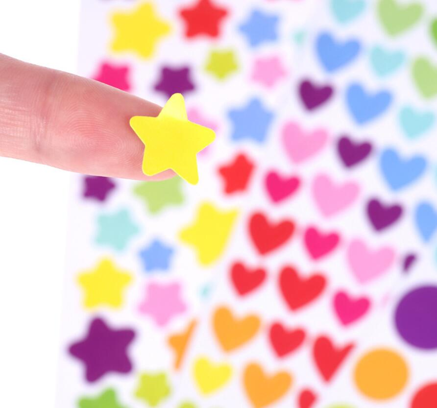 6pcs/pack Colorful Mini Stickers Star Heart Circle Sticky Children's Toy Sticker Decorative Stickers Stationery